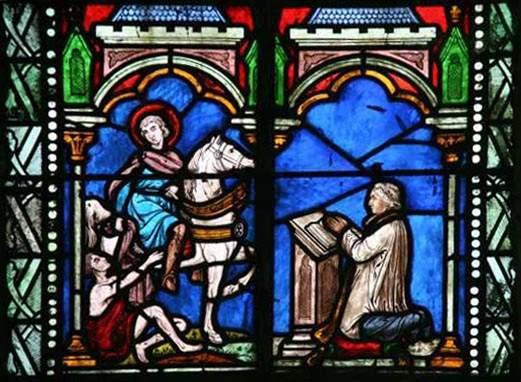 vitrail représentant Saint-Martin partageant son manteau